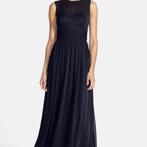 Eliza J Sleeveless Illusion Yoke Chiffon Gown NAVY